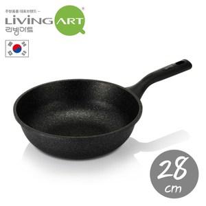 韓國【LivingArt】大理石不沾炒鍋28CM