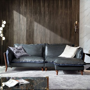 林氏木業簡約內斂頭層牛皮雙色四人座沙發RBN1K + 腳凳B31  深灰色