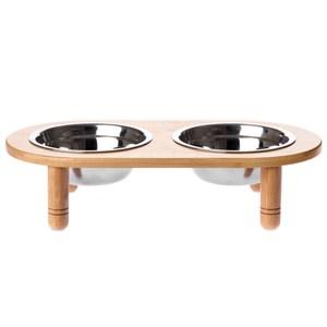 愛寵 竹藝簡約寵物碗架 附不鏽鋼碗