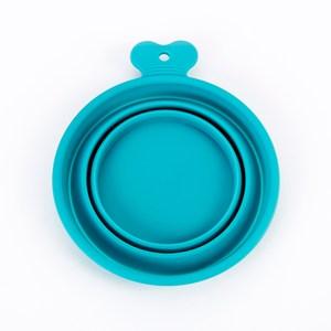 骨頭把手折疊矽膠碗 L藍