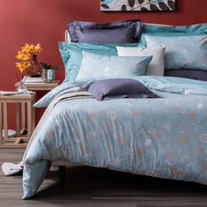 HOLA 時茵純棉床包兩用被組 雙人