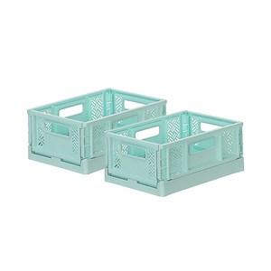 (組)BQ530-2 箱根300型摺疊籃(水藍) 2入