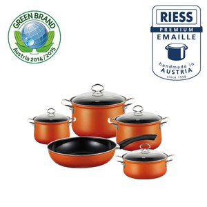 【Riess】奧地利國寶陶瓷琺瑯鍋具組5入(橘)