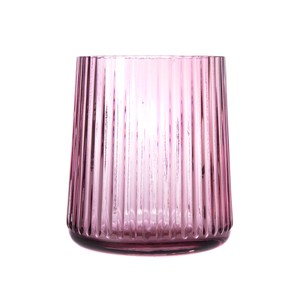 直紋透明小花器粉色11cm