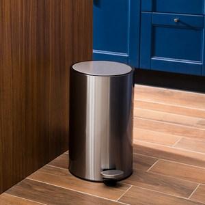 HomeZone里德緩降踏式垃圾桶8L-不鏽鋼