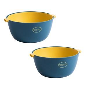 (組)簡約雙層 瀝水籃/洗菜籃-莫藍色 (2入組)