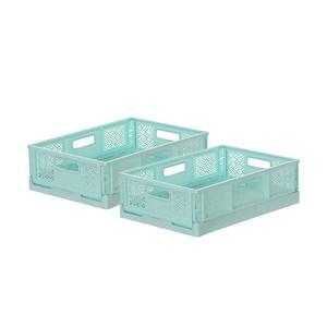 (組)BQ540-2 箱根400型摺疊籃(水藍) 2入