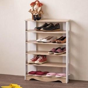 《TWO TONE》寬版六層便利鞋櫃 ( 木紋白 )