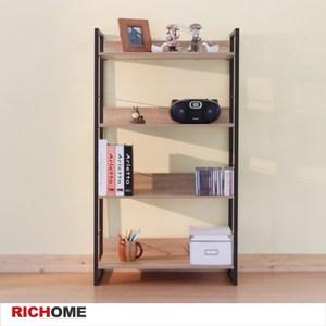 【RICHOME】里斯特3D木紋四層架(咖啡鐵管)