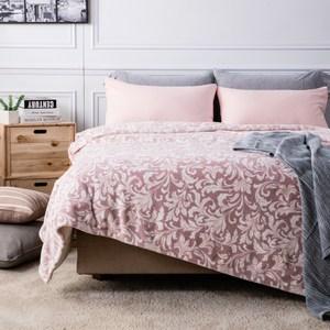 HOLA 愛奧尼緻柔印花法蘭絨毯 單人 粉色款