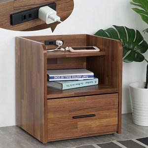 Homelike 金姆附插座床頭櫃-積層木-免組裝
