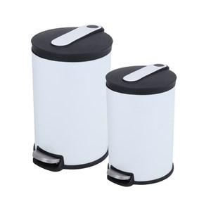 (組)阿道夫緩降踏式垃圾桶-白5L+12L